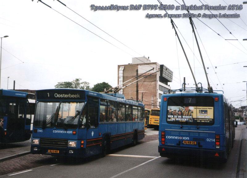 Арнем. Berkhof Premier AT18 №0214, DAF B79T-K560 №0145