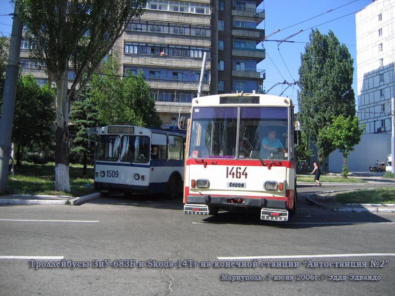 Мариуполь. Skoda-14Tr №1464, ЗиУ-683Б №1509