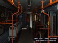 Тверь. Салон нового трамвая ЛМ-99АЭН Пчелка - вид от задней площадки